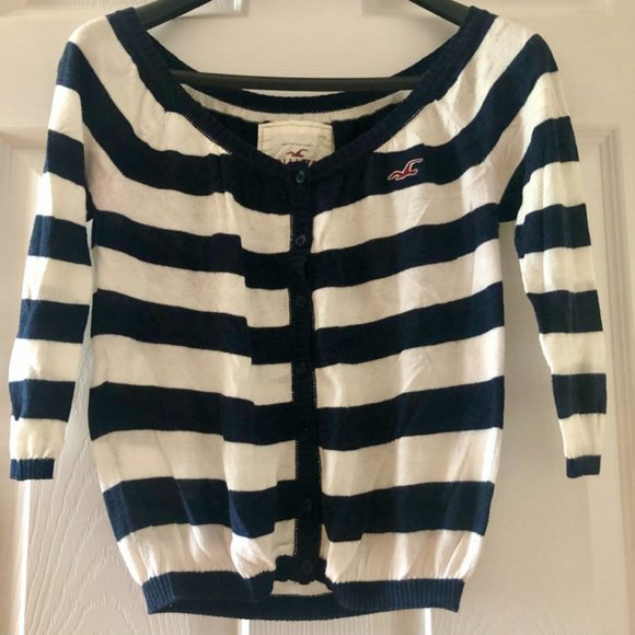 Hollister Striped Cropped Cardigan - Size Small
